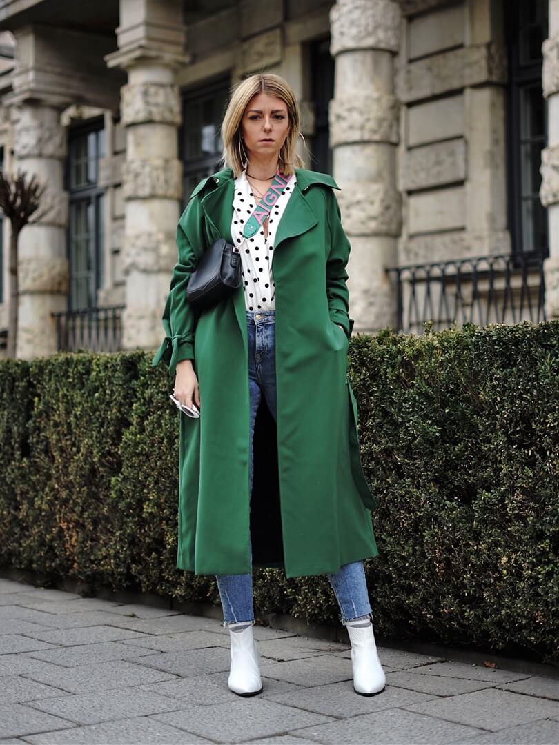 langer grüner Trenchcoat für Frauen von Silke