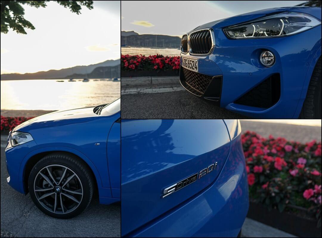"""19"""" M Doppelspeiche Felgen, M Frontstange und sDrive 20i Logo am Heck des BMW X2"""