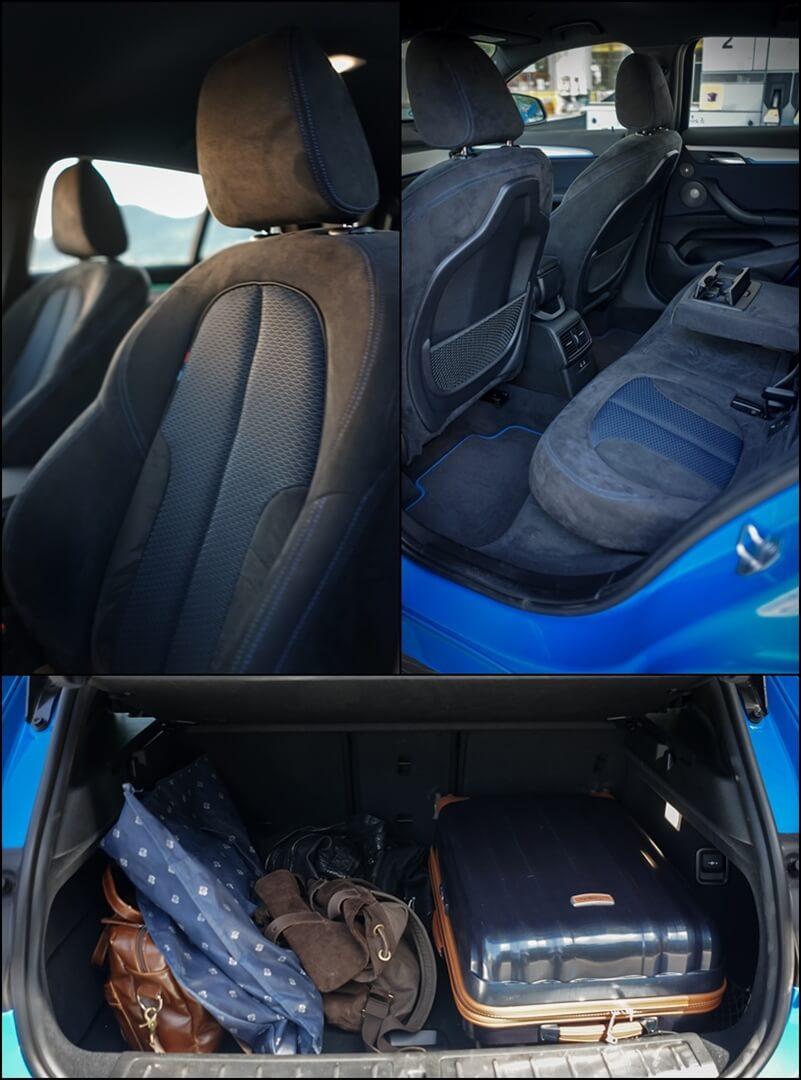 Frontsitze, hinterer Innenraum und Kofferraum des BMW X2