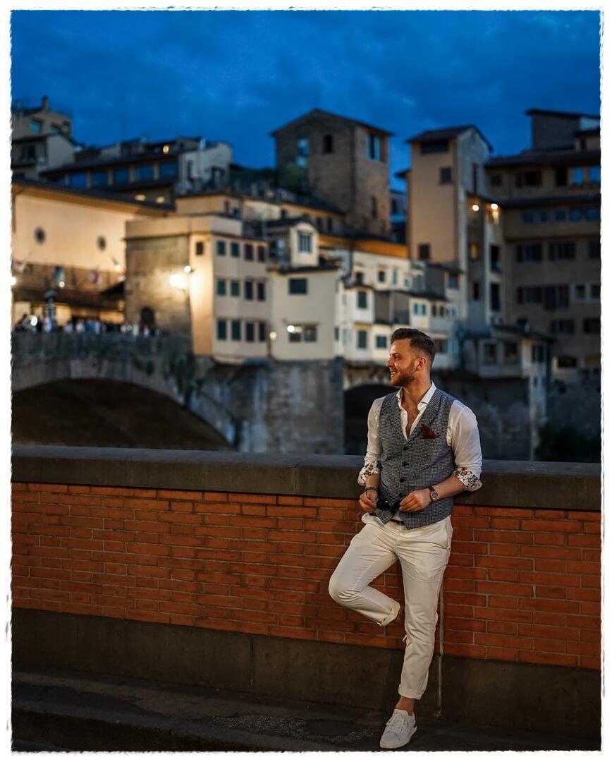 Abends am Ponte Vecchio in Florenz