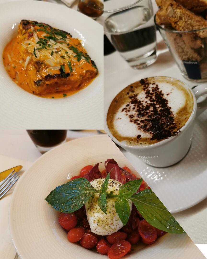 Gregorellis Restaurant Frankfurt Büffelmozzarella, Gemüselasagne & Cappuccino