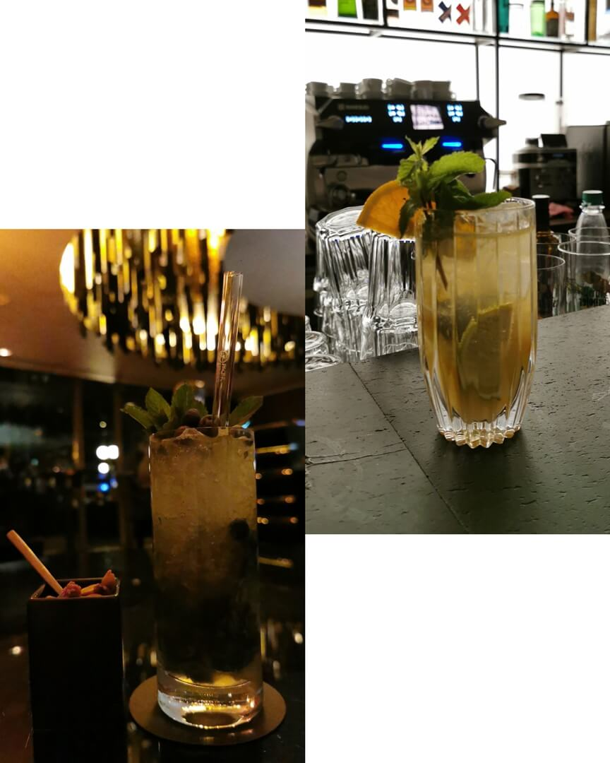 Drinks: Roomers Hotel Bar (links) ; Envy Bar (rechts)