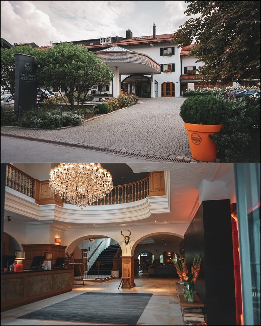 Einfahrt zum Bachmair Weissach Hotel und Empfang