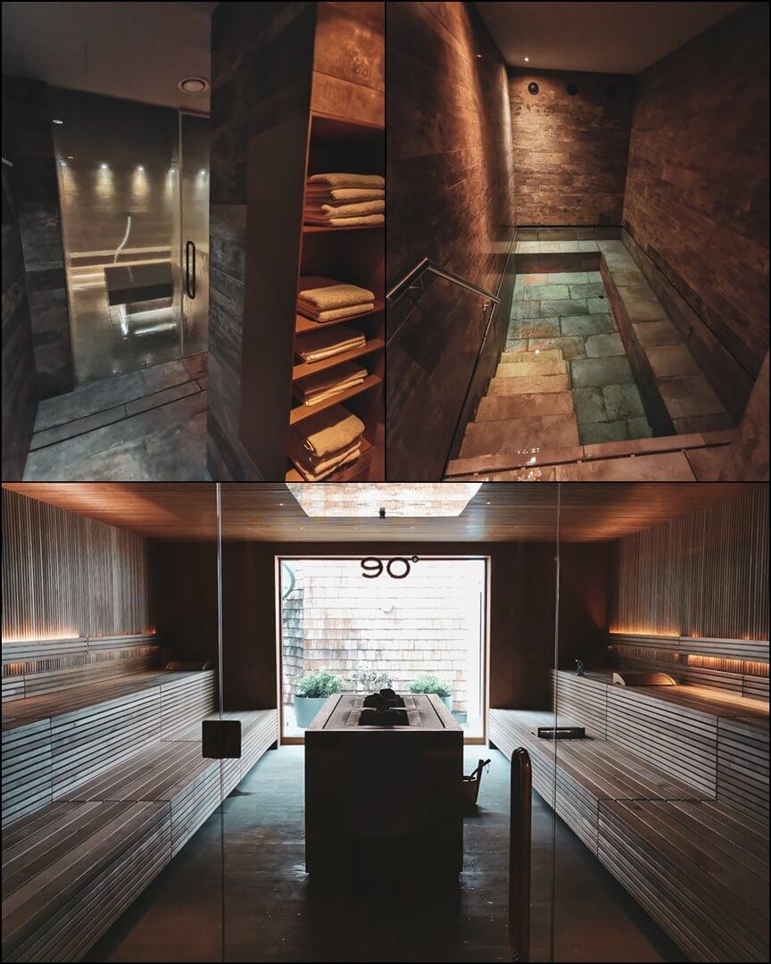 42°C Dampfbad (links), 42°C Wasserbecken (rechts), 90°C Sauna (unten) im Mizu Onsen Spa Bereich