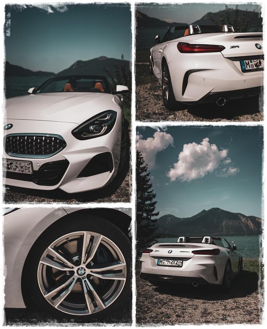 BMW Z4 sDrive 20i M Sport Front-, Seiten- und Heckansicht am Walchensee