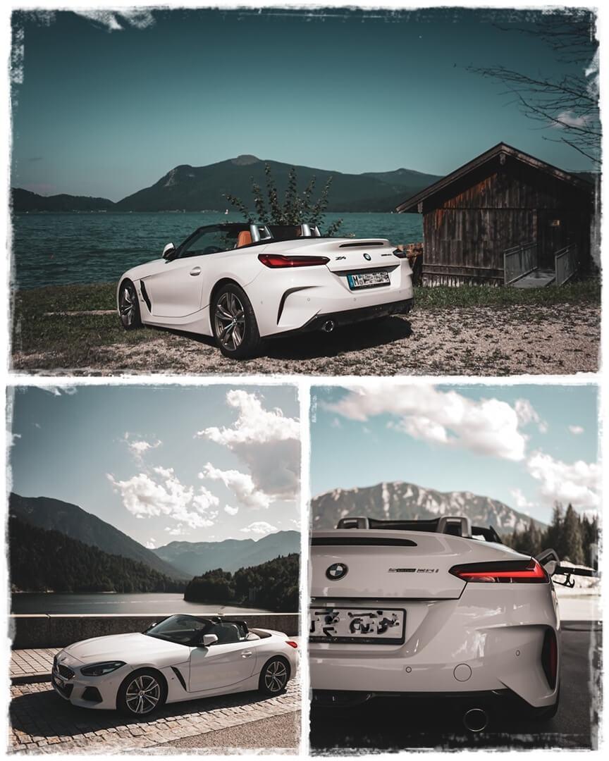 BMW Z4 sDrive 20i M Sport am Walchensee (oben) & Sylvensteinsee (unten)