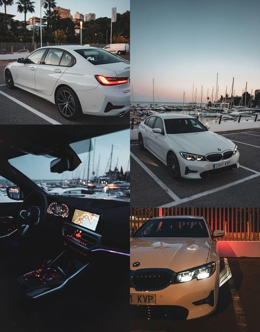 Der neue 3er BMW - 320d Sport Line Interieur unten links - unten rechts Scheinwerfer & Begrüßungslicht