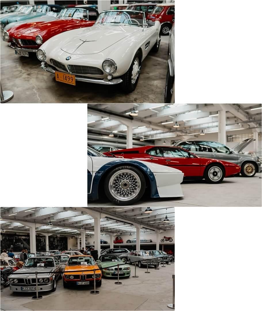 BMW 507 Elvis Presley (oben), M1 Pro Car (mitte), Fahrzeughalle (unten)