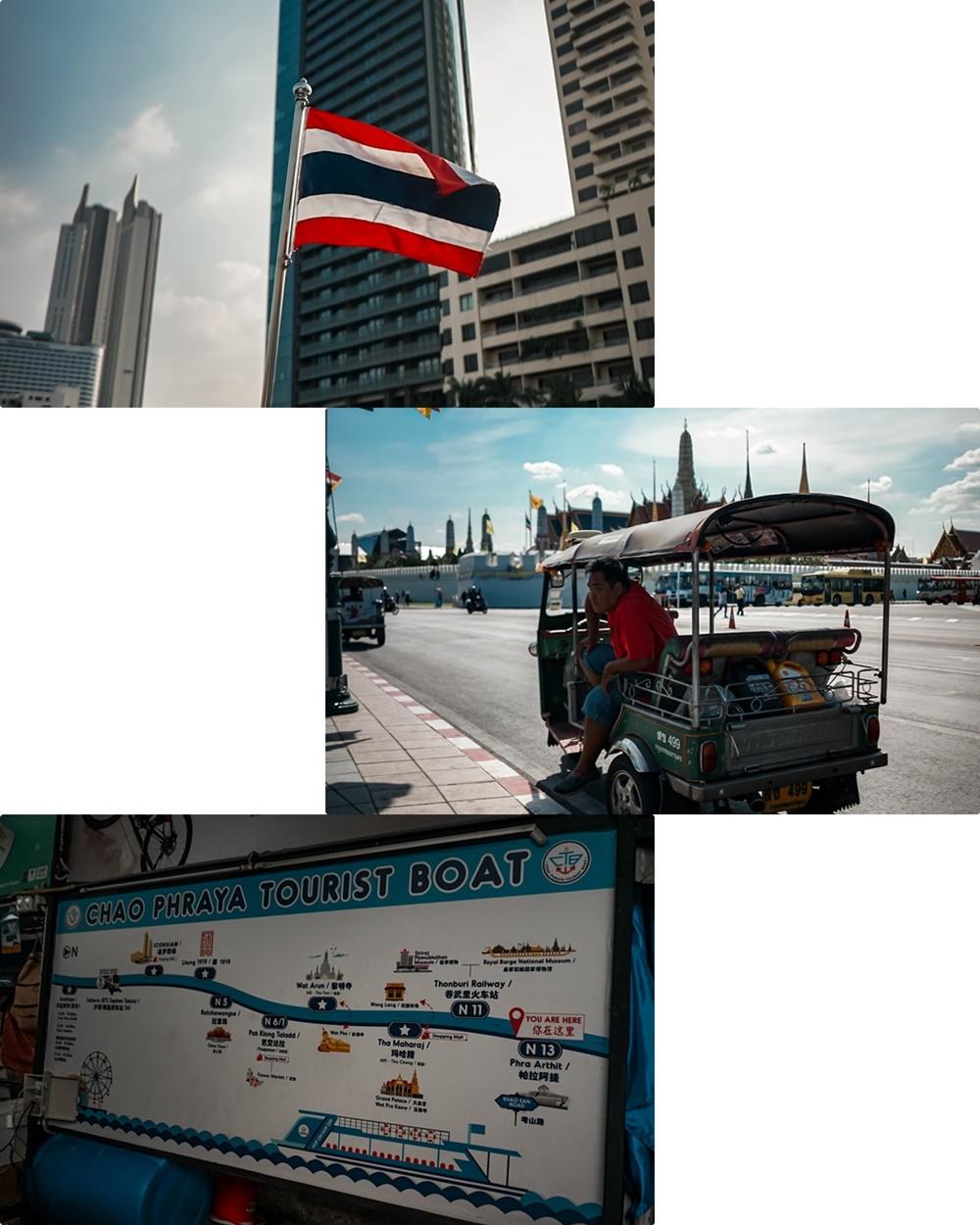 Thailand Flagge, Tuk Tuk in Bangkok & Chao Phraya Tourist Boat Karte
