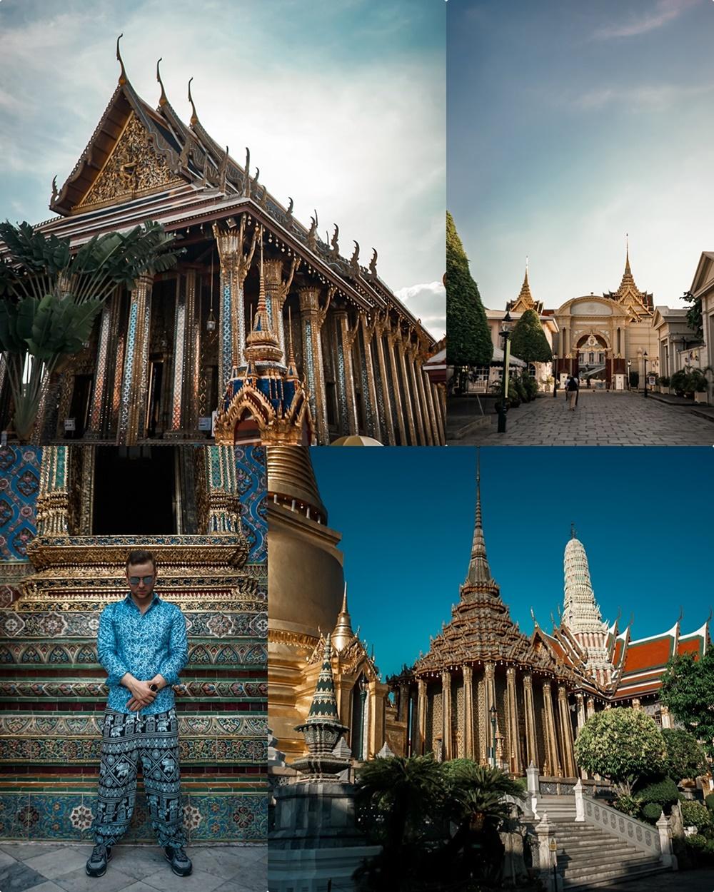 Golden Palace & Grand Palace (oben links und rechts), Wat Phra Kaeo (unten rechts)