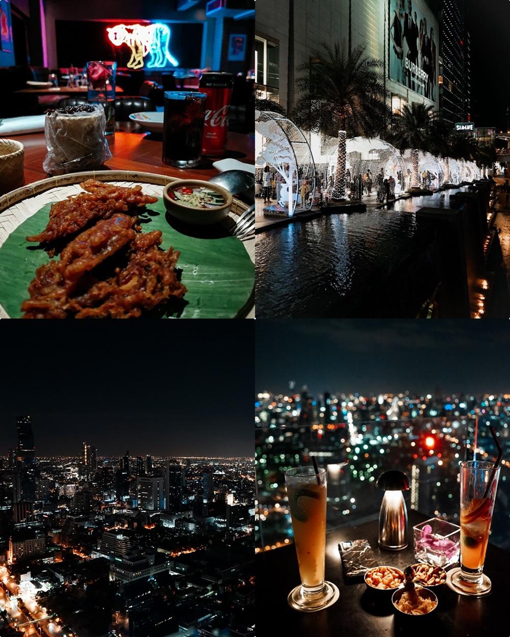 Ross Kitchen & Siam Paragon (oben links - rechts), Moon Bar im Banyan Tree Hotel und Aussicht (unten)