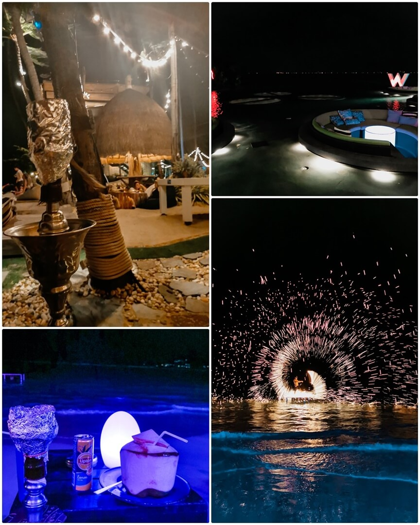 COCO TAM'S, Woobar (oben), Elephant Beach Club & Feuershow (unten) Koh Samui