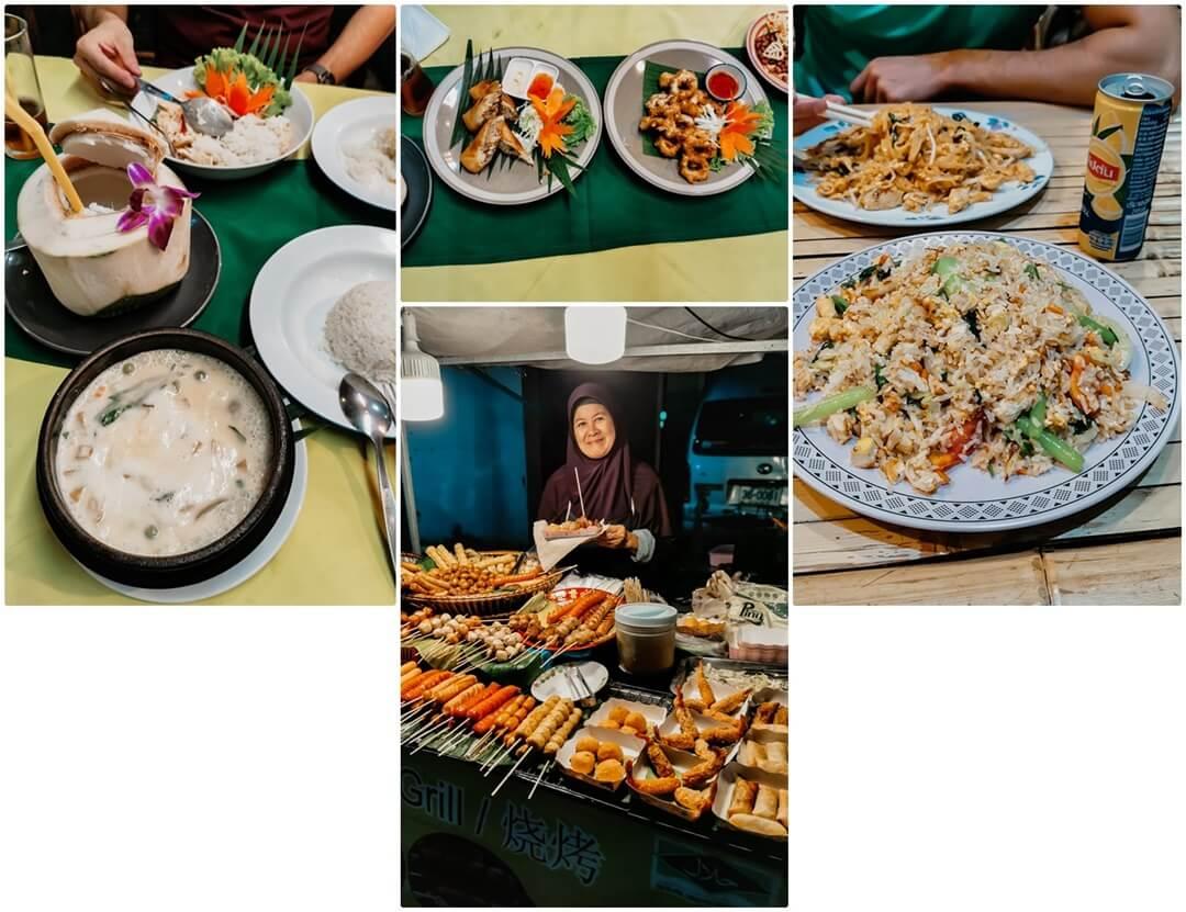 MAMA Restaurant oben links & mitte; Imchai oben rechts. Stand am Night Market unten Mitte