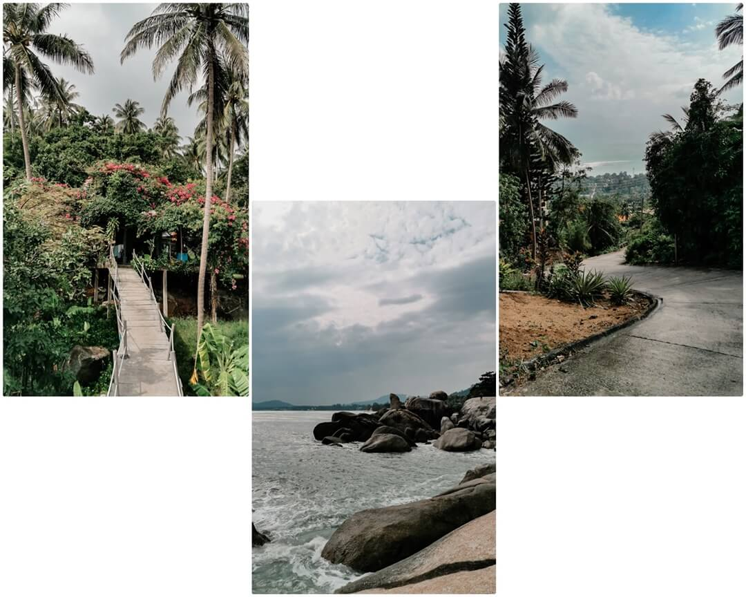 Overlap Stone Anfahrt (links & rechts), Grandfathers & Grandmothers Rock (mitte) Koh Samui