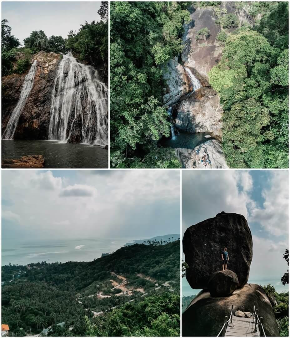 Wasserfall 1 & 2 (oben), Overlap Stone & Aussicht (unten) auf Koh Samui