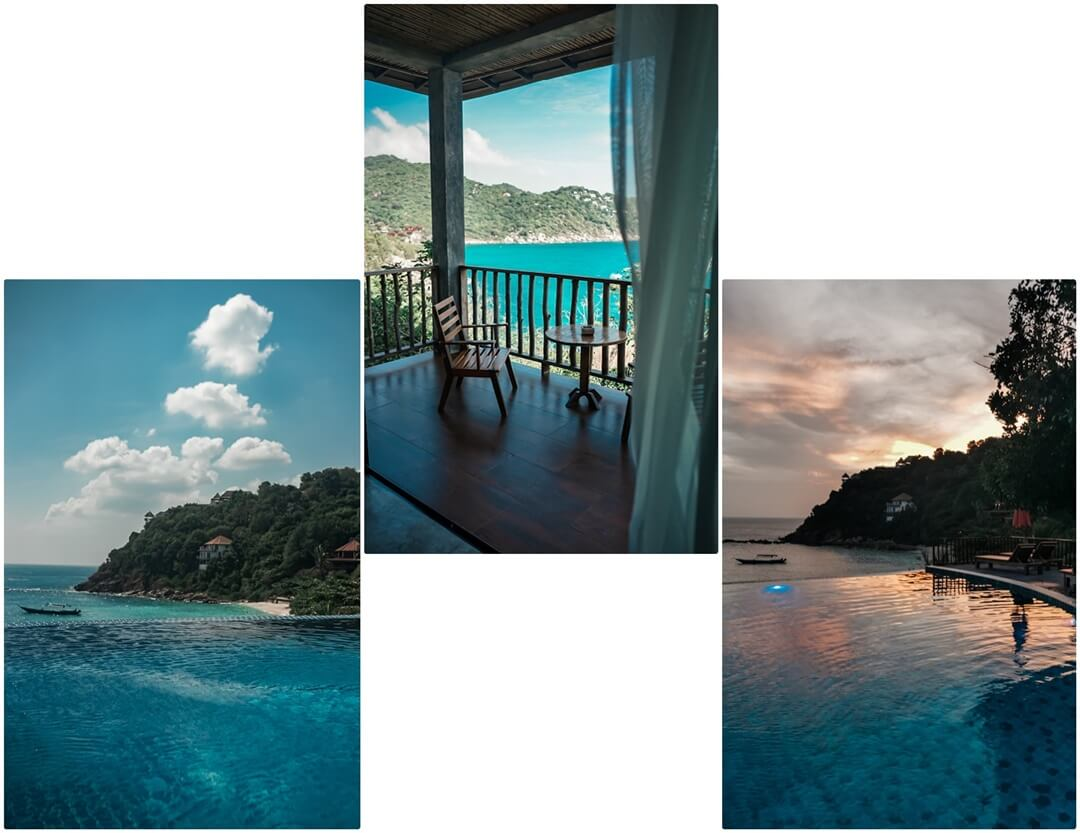 Mitte: Aussicht Zimmer, Links & Rechts: Infinity Pool bei Tag & Sonnenuntergang