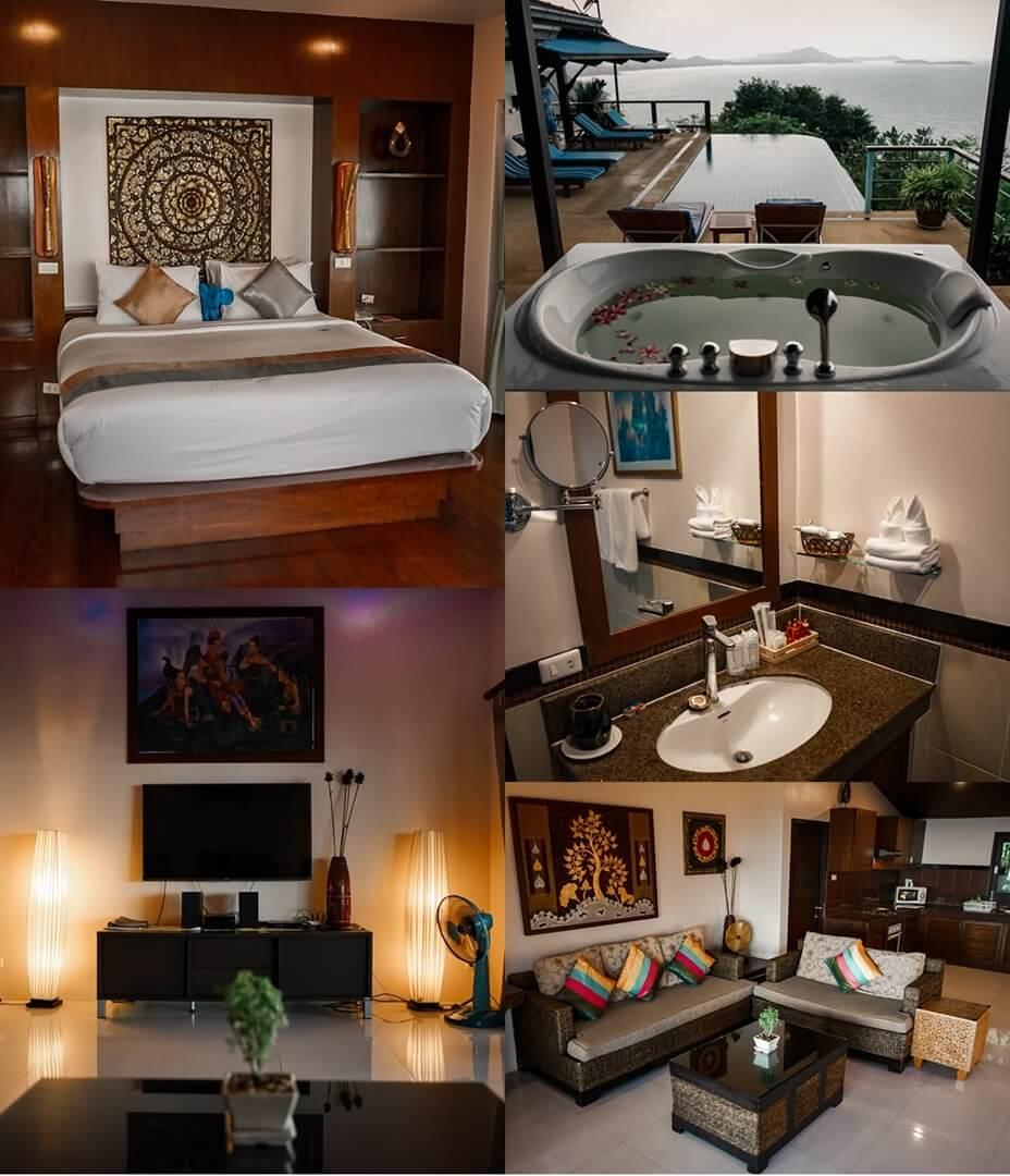 Sandalwood Luxury Villas - Villa Llewaladee: Schlafzimmer, Pool, Wohnzimmer, Bad