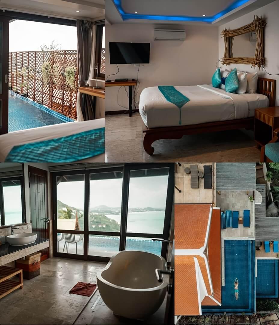Sandalwood Luxury Villas - Villa Rose: Schlafzimmer, Bad, Infinity Pool