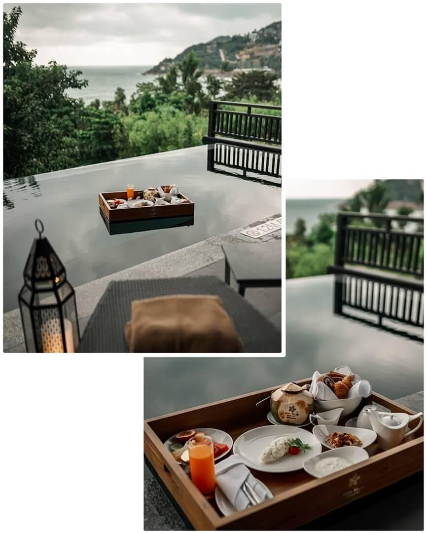 Floating Breakfast in der Vana Belle Suite
