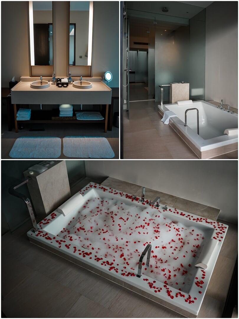 Badezimmer mit Badewanne, unten Honeymoon Bad