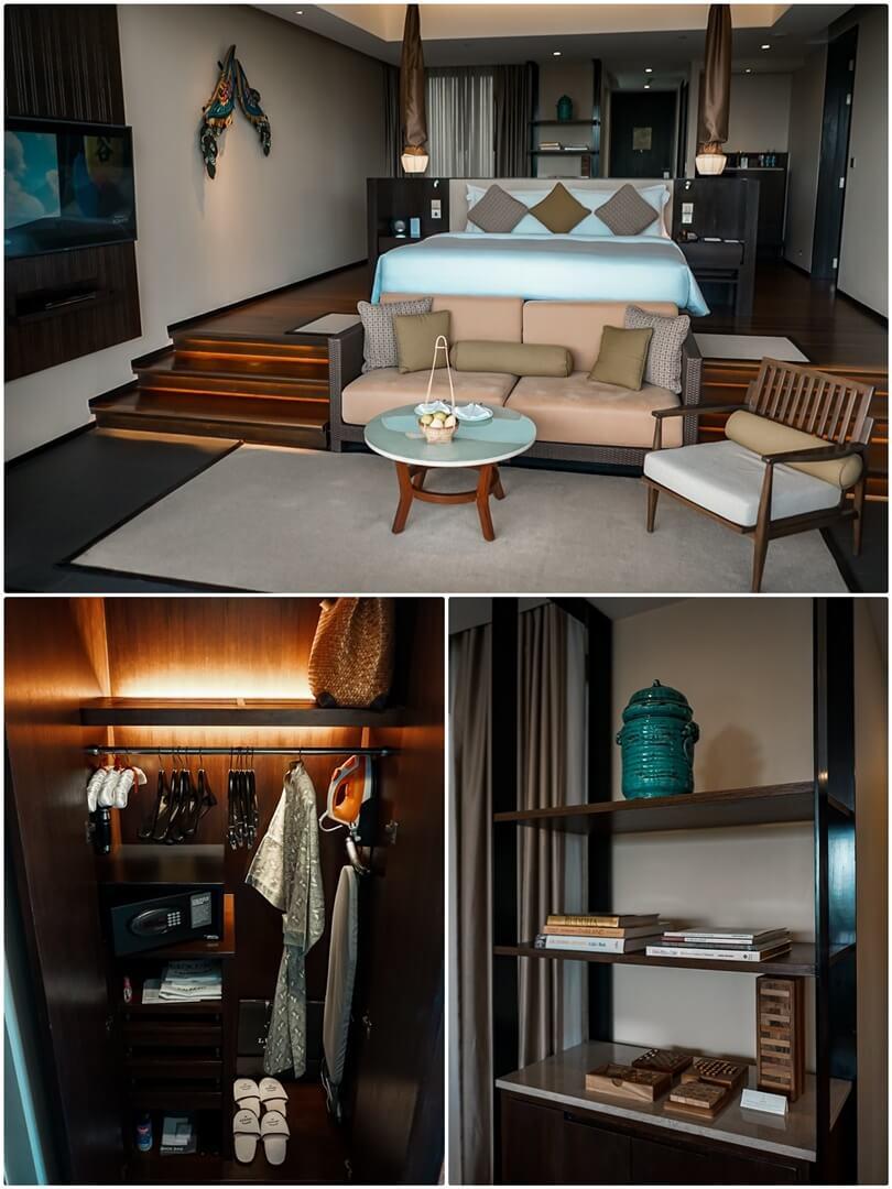 Grand Ocean View Pool Suite: Schlafzimmer, Kleiderschrank mit Safe, Bücher und Gemeinschaftsspiele