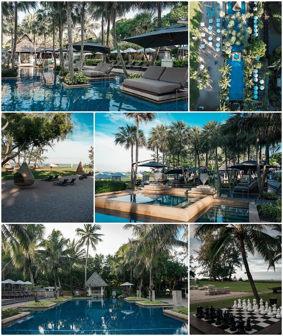 Infinity Pool und Liegebetten im Anantara Mai Khao Phuket Villas