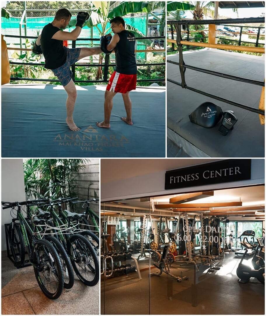 oben: Muay Thai, unten: Fahrradverleih & Fitness Center
