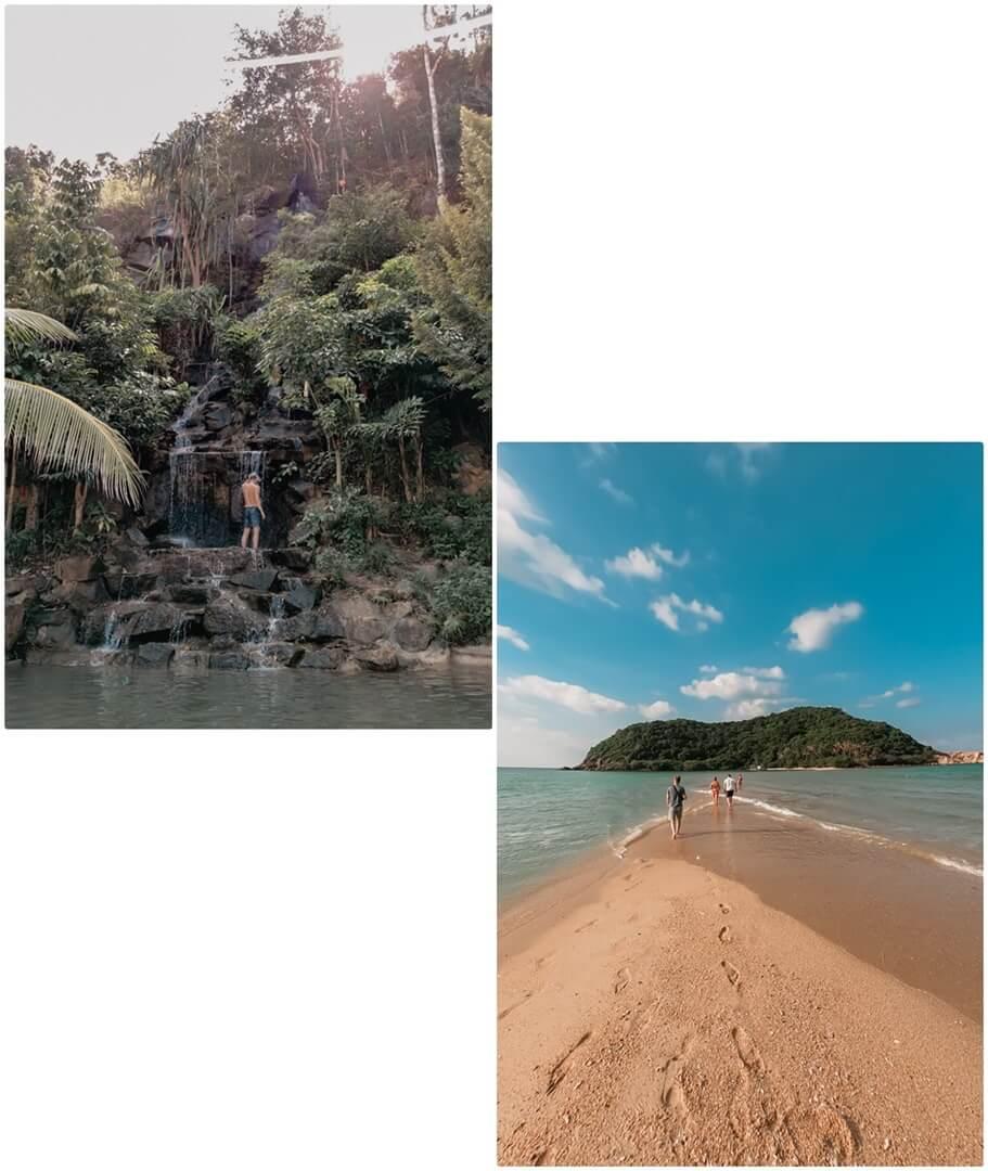 Wangsai Waterfall links, Koh Ma Thale Walk rechts