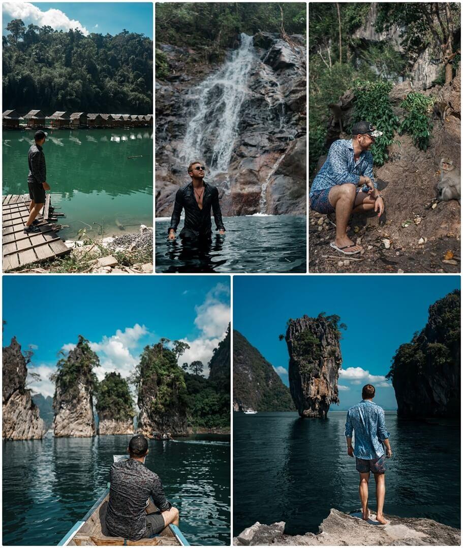 Khao Sok Nationalpark (links), Sai Rung Wasserfall (oben mitte), Monkey Cave (oben rechts), James Bond Island (unten rechts)