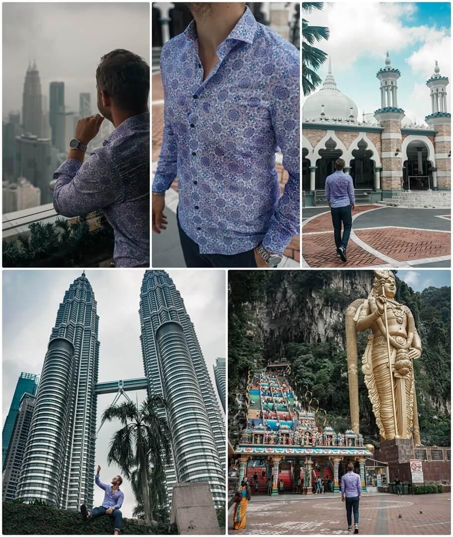 KL Tower & Masjid Jamek (oben), Petronas Towers & Batu Caves (unten) in Kuala Lumpur