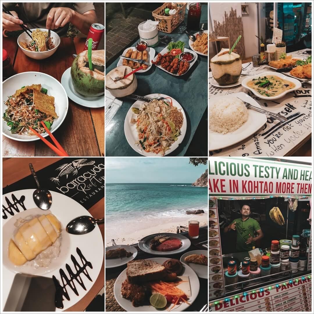 Restaurant Empfehlungen Koh Tao, oben: Noodle Bar, Coffee Boat, Na; unten: Barracuda, Sai Daeng, Pancake