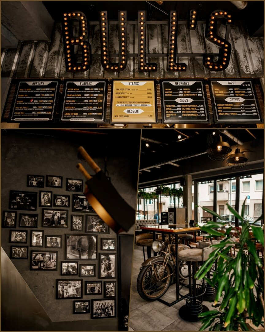 hier fühlt man sich wohl, modern und charmant das Innendesign im Bull's Kitchen