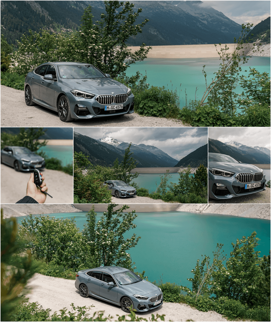 BMW 220d Gran Coupé in der Farbe Storm Bay Metallic mit Shadow Line & M Sport Paket