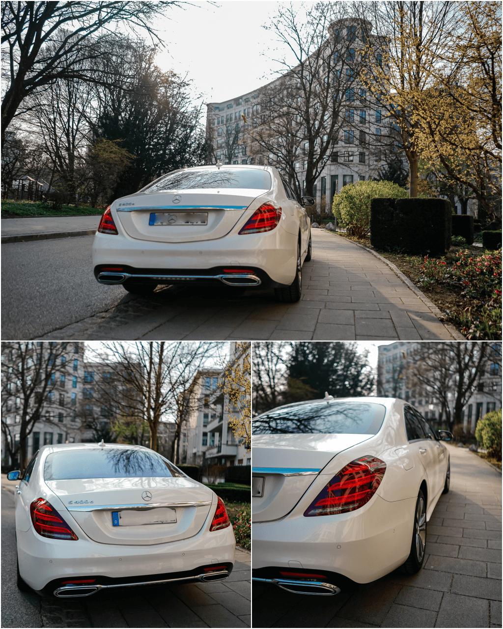 Heckansicht Mercedes-Benz S-Klasse in designo diamantweiß