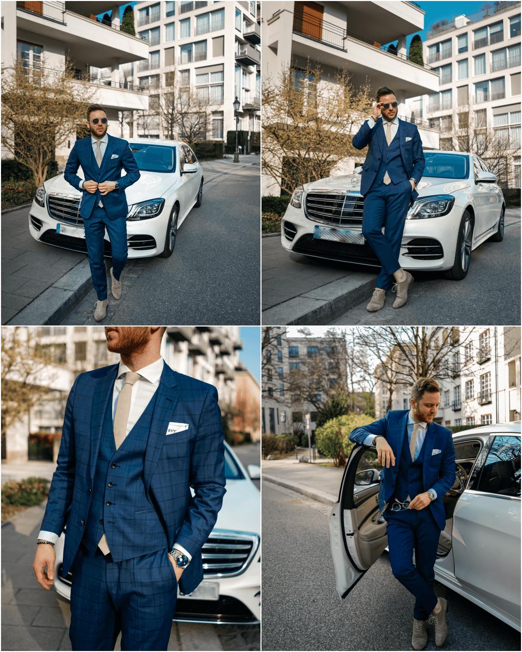 blau, karierter Dreiteiler Anzug von BOSS passend zum diamantweißen S 400d von Mercedes-Benz