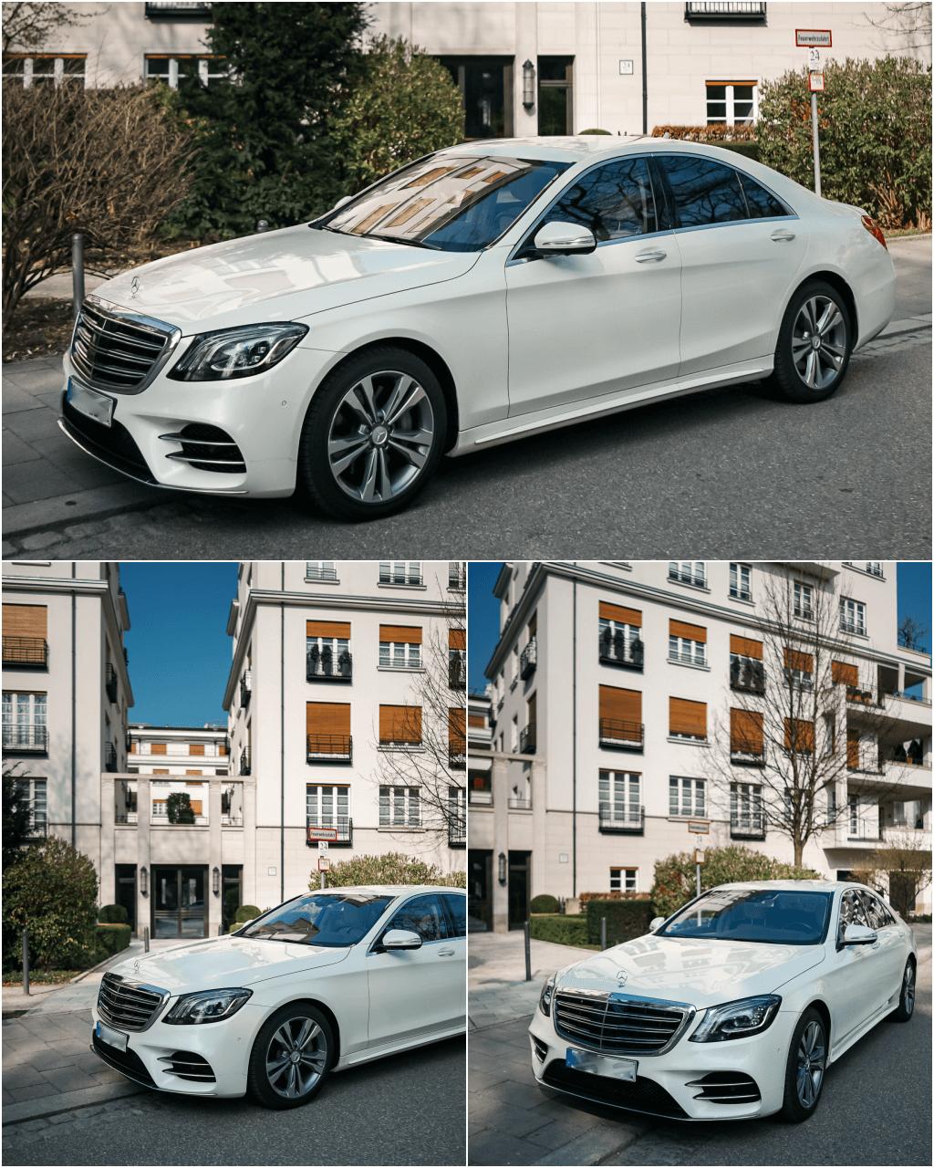 Front- und Seitenansicht der Mercedes-Benz S 400d AMG Line in designo diamantweiß