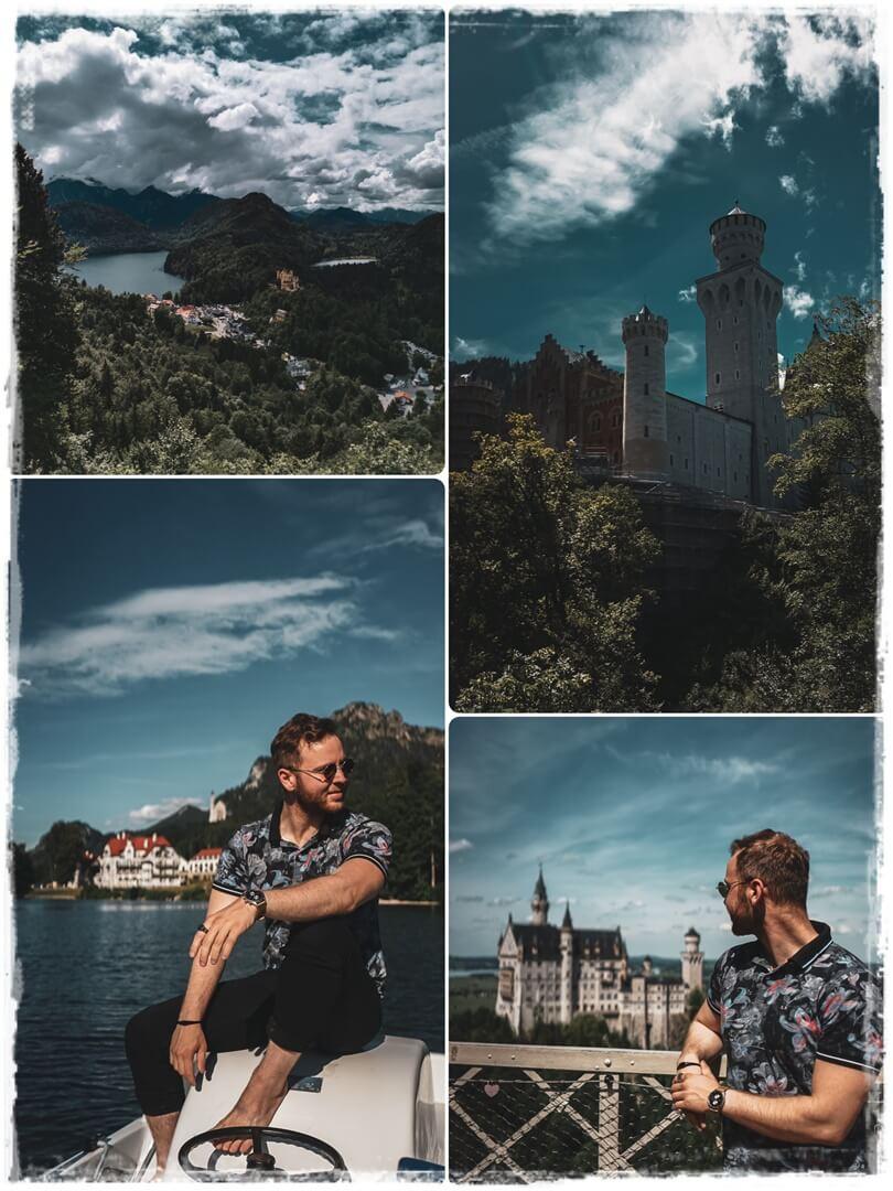 öffentlich zugängliche Foto Spots wie Panoramablick Schwangau, Skywalk Neuschwanstein (oben), Tretboot am Alpsee oder auf der Marienbrücke (unten)
