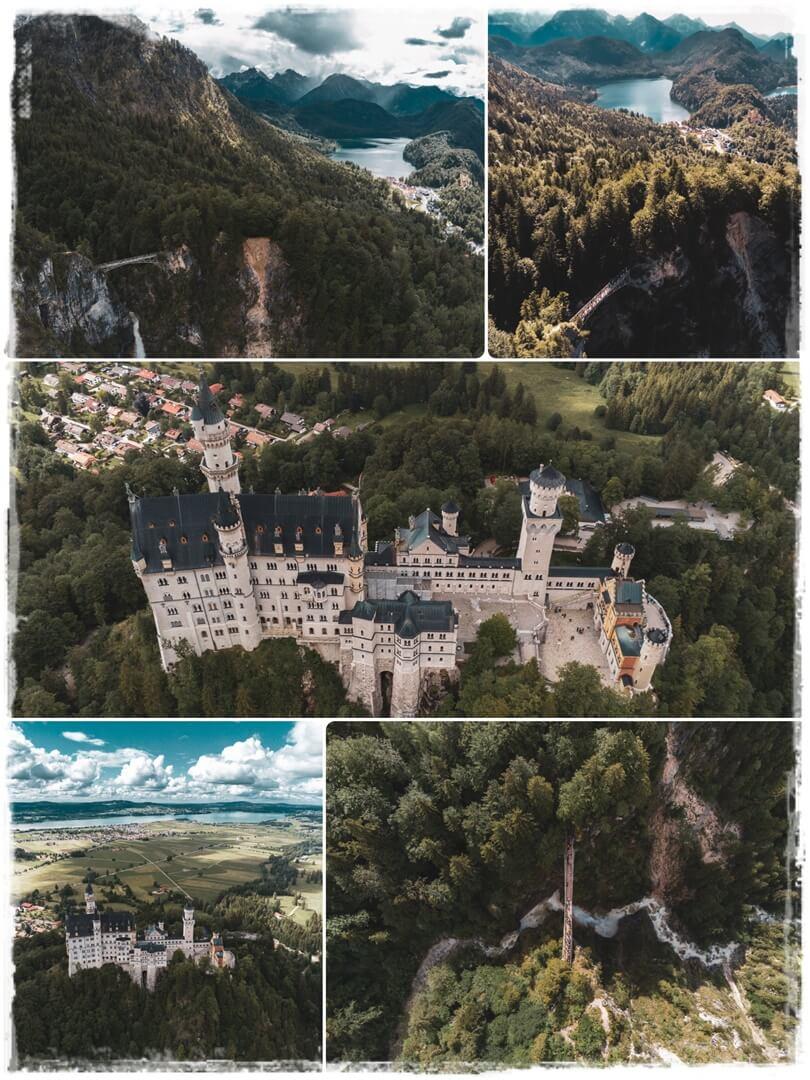 Drohnenaufnahme vom Schloss Neuschwanstein und von der Marienbrücke mit Blick zum Alpsee