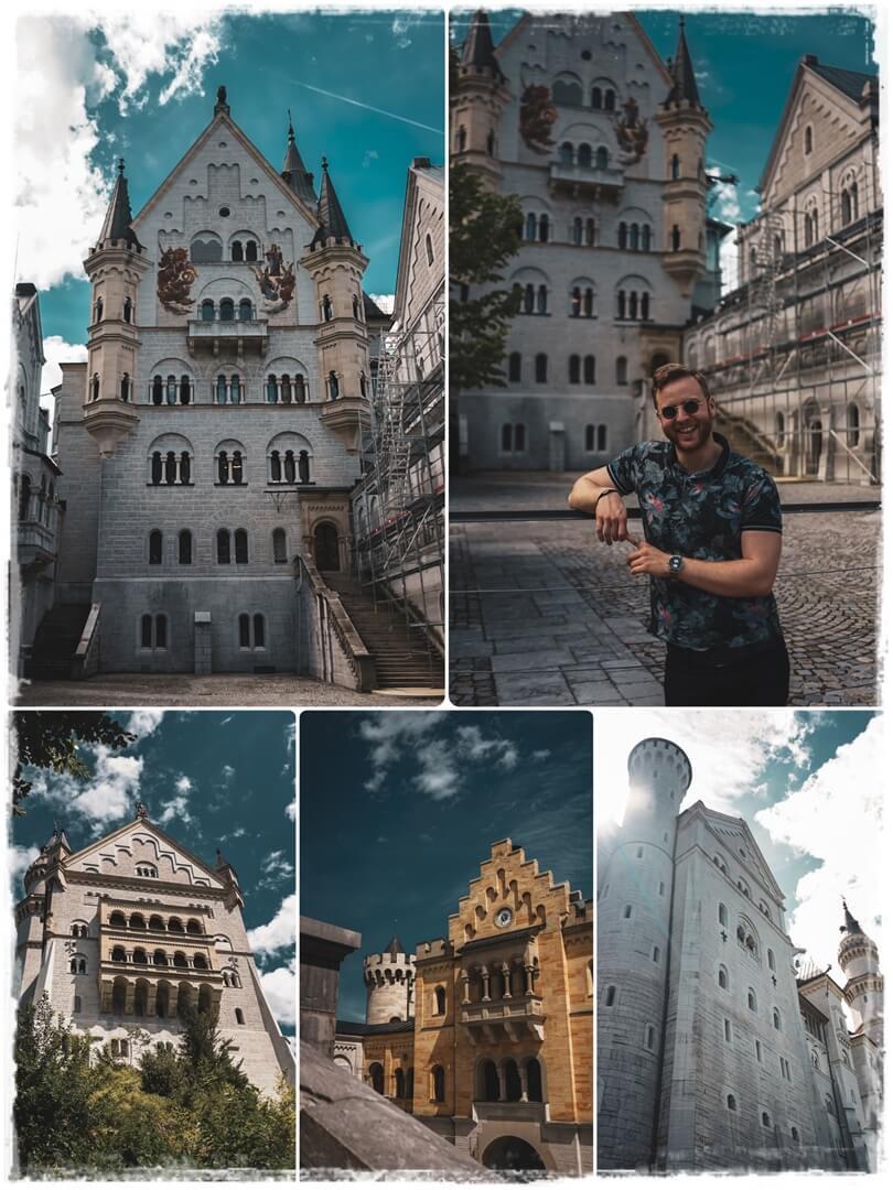 Die Fassaden des Schloss Neuschwansteins in Schwangau im Allgäu