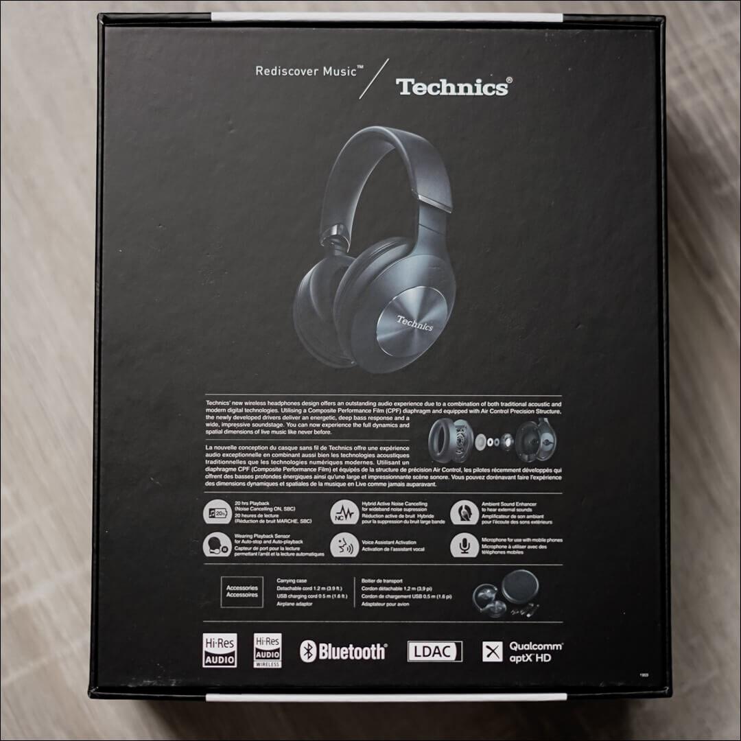 Verpackung der Technics EAH-F70N Hybrid Noise Cancelling Kopfhörer